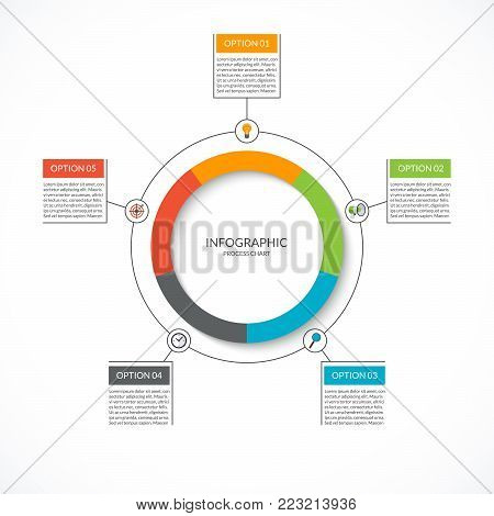 Infographic cycle diagram. Process chart with 5 options. Vector circle template for business infographics. Can be used for graph, presentation, report, step options, web design.