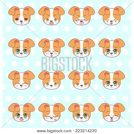 Emoticons, Emoji, Smiley Set, Colorful Sweet Kitty Little Cute Kawaii Anime Cartoon Dog, Puppy Diffe