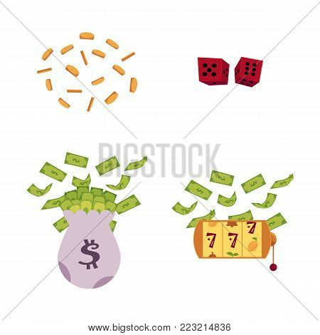 vector flat bag with dollar cash, golden coins rain, gambling lucky triple seven Jackpot, golden slot mashine with dollar rain, red dice cubes. Isolated illustration, white background.