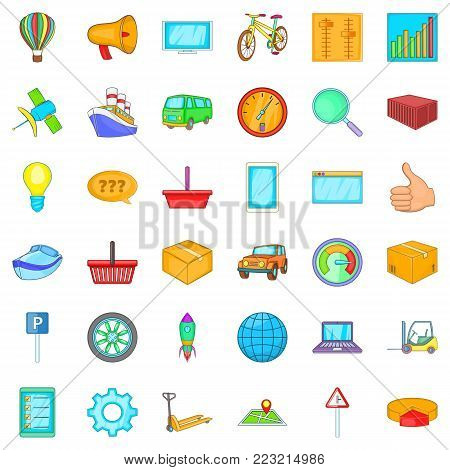 Ordering icons set. Cartoon set of 36 ordering vector icons for web isolated on white background