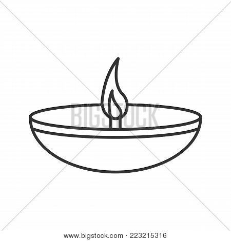 Islamic oil lamp linear icon. Diya. Thin line illustration. Islamic culture. Burning bowl oil lamp. Contour symbol. Vector isolated outline drawing