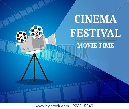 Cinema Festival. Movie time invitation poster with film projector. Cinematography concept. Vector illustration.