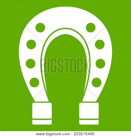Horse shoe icon white isolated on green background. Vector illustration