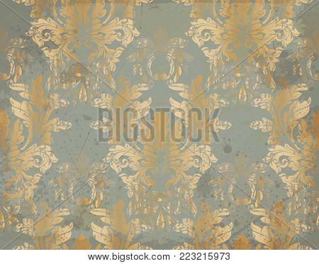 Vector Luxury Baroque pattern in gold. Victorian royal decor. Intricate design ornament