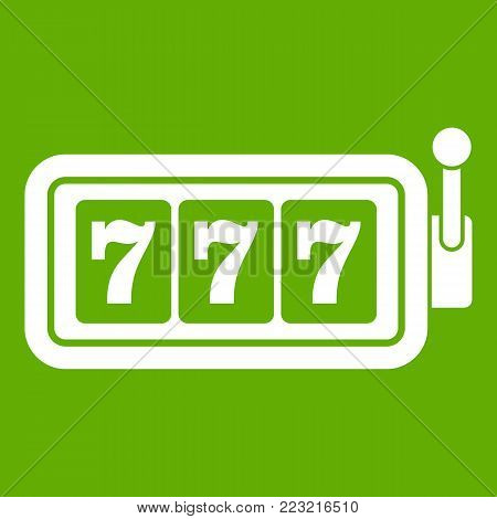 Lucky seven on slot machine icon white isolated on green background. Vector illustration