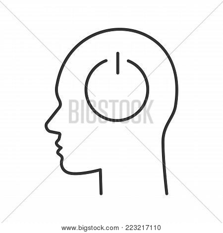 Human head with power button inside linear icon. Brain turning off. Thin line illustration. Robot. Contour symbol. Vector isolated outline drawing