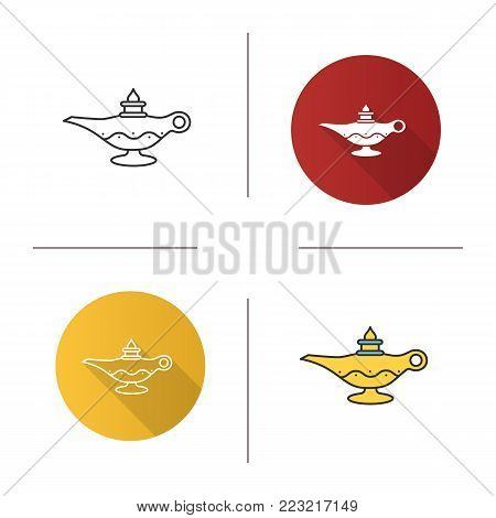 Islamic oil lamp icon. Flat design, linear and color styles. Islamic culture. Magic lamp. Isolated vector illustrations