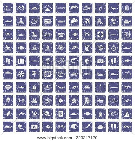 100 sea life icons set in grunge style sapphire color isolated on white background vector illustration poster