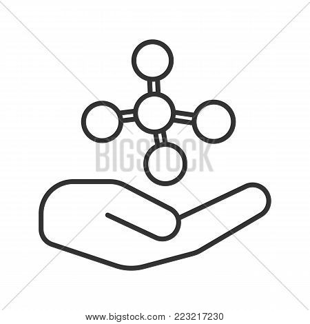 Open hand with molecule linear icon. Chemical contamination prevention. Thin line illustration. Chemical engineering. Contour symbol. Vector isolated outline drawing