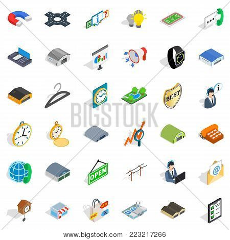 Buying activity icons set. Isometric set of 36 buying activity vector icons for web isolated on white background