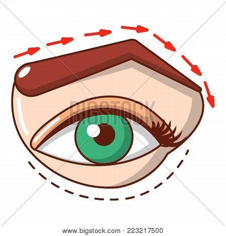 Eyelid elevation icon. Cartoon illustration of eyelid elevation vector icon for web.