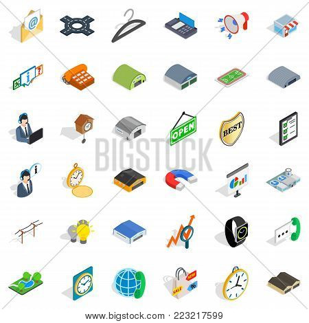 Consumer activity icons set. Isometric set of 36 consumer activity vector icons for web isolated on white background