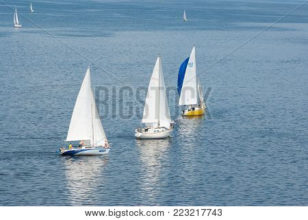 Dnepropetrovsk, Ukraine - May 29, 2010: Sailing race on the Dnepr river during city yacht club championship