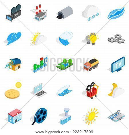 Energy crisis icons set. Isometric set of 25 energy crisis vector icons for web isolated on white background