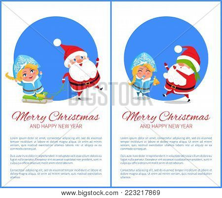 Merry Christmas and happy New Year, ride on sleds by Snow Maiden and game called blind mans buff with Santa Claus isolated on vector illustration