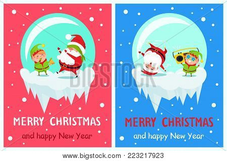 Postcard Merry Christmas Happy New Year Santa and Elf play hide-and-seek, singing carol songs cartoon characters in icy ball vector posters set