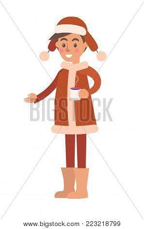Boy with wide smile wearing coat and warm hat of brown color, holding cup of tea ready to drink, vector illustration isolated on white background