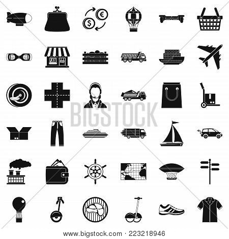 Plane delivery icons set. Simple style of 36 plane delivery vector icons for web isolated on white background