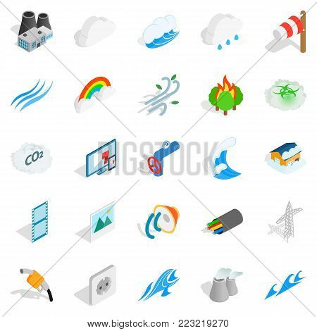 Intensity icons set. Isometric set of 25 intensity vector icons for web isolated on white background