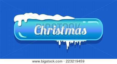 Christmas blue glossy button, vector illustration of white word isolated on push-button with aquamarine frame with snowy piles on it, isolated on blue