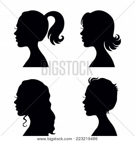 Set of four vector woman head with different hairstyles silhouettes - fashion and beauty illustration
