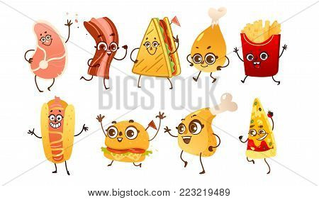 Set of funny fast food characters - burger, hot dog, steak, bacon, pizza, French fries, sandwich and chicken leg, cartoon vector illustration isolated on white background. Funny fast food characters