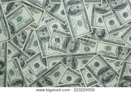 Background of dollar bills and concept of 100 cash