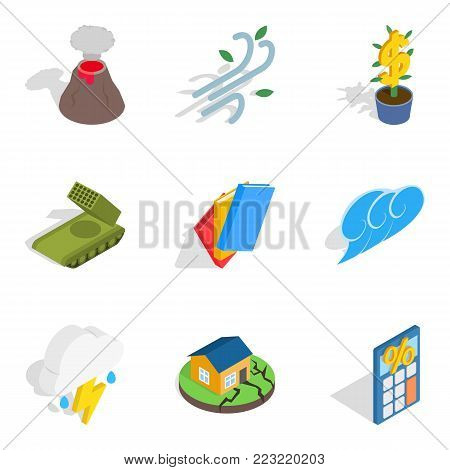 Circumstances icons set. Isometric set of 9 circumstances vector icons for web isolated on white background