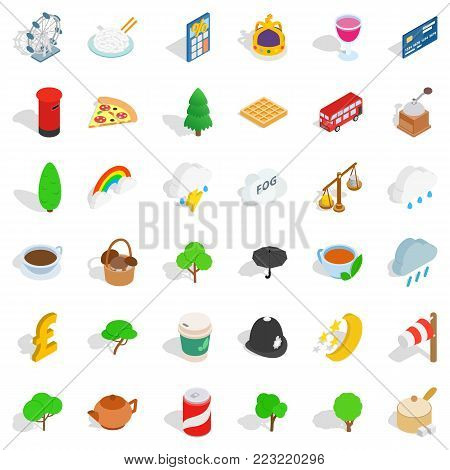 Land of britain icons set. Isometric set of 36 land of britain vector icons for web isolated on white background