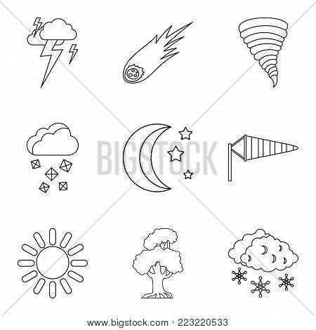 Forecasting icons set. Outline set of 9 forecasting vector icons for web isolated on white background