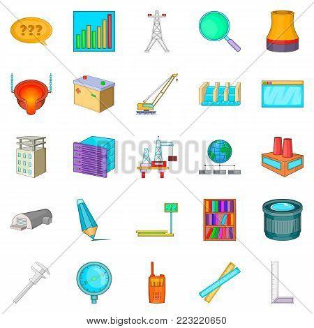 Engineering manager icons set. Cartoon set of 25 engineering manager vector icons for web isolated on white background