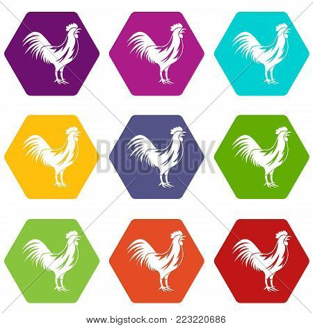 Gallic rooster icon set many color hexahedron isolated on white vector illustration