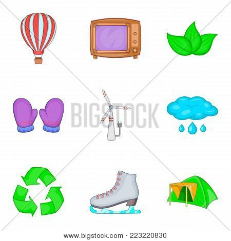 Projections icons set. Cartoon set of 9 projections vector icons for web isolated on white background