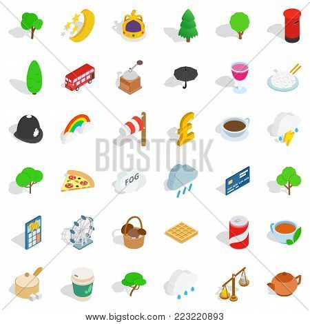 Great britain icons set. Isometric set of 36 great britain vector icons for web isolated on white background