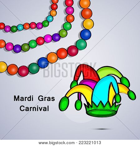illustration of Necklace and hat with Mardi Gras Carnival text on the occasion of Mardi Gras Carnival
