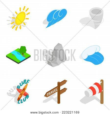 Prediction icons set. Isometric set of 9 prediction vector icons for web isolated on white background