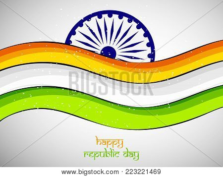 illustration of Indian flag with Happy republic day text on the occasion of Indian Republic day