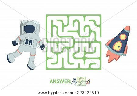 Children's maze with astronaut and rocket. Cute puzzle game for kids, vector labyrinth illustration.