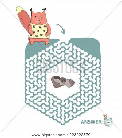 Children's maze with squirrel and nuts. Cute puzzle game for kids, vector labyrinth illustration.