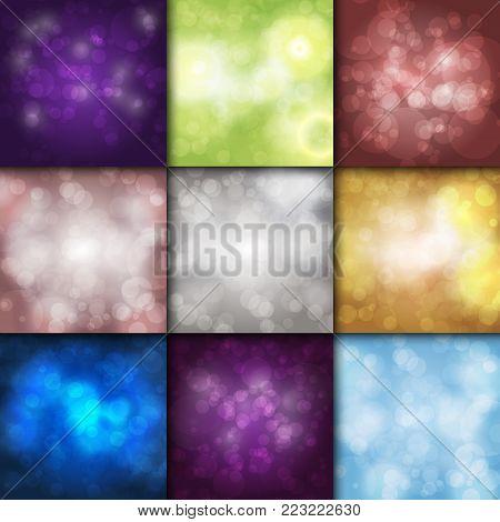 Bokeh background vector sparkling effect warm blurred festive party lights background glow design glitter shiny backdrop. Blur magic defocused xmas festive texture glowing.