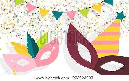 Carnival masks, confetti, garlands, carnival vector design elements, isolated on white background. Carnival festive party decorations for banners, carnival flyers, cards.