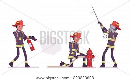 Young male firefighter at duty. Professional fireman uniform, fire department rescuer with buckthorn. Emergency services jobs concept. Vector flat style cartoon illustration isolated, white background