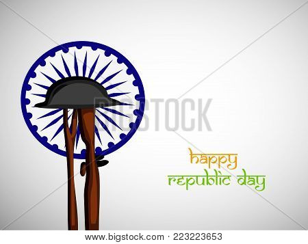 illustration of rifle in hat with happy Republic Day text on the occasion of Indian Republic day