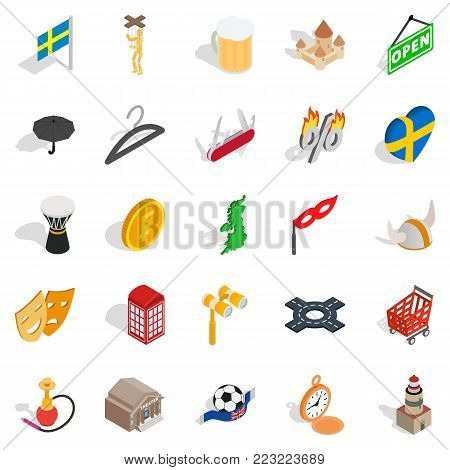 European union icons set. Isometric set of 25 european union vector icons for web isolated on white background