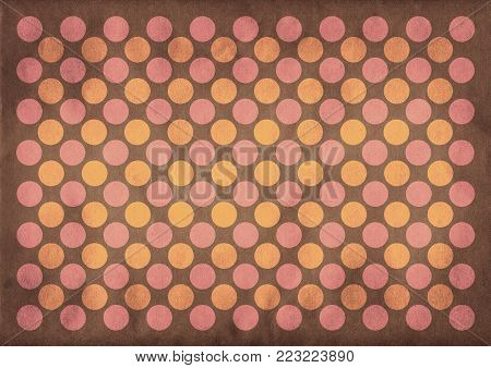 Retro pink and yellow circles pattern on a faded brown background