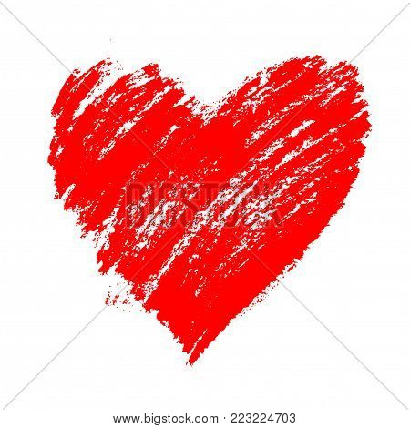 Red grunge hand drawn heart with splashes and brush strokes. Symbol of love and valentine`s day. Vector element for holiday design, isolated on white.