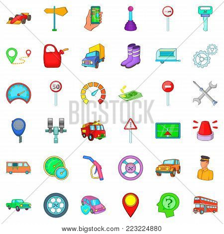 Motor lorry icons set. Cartoon set of 36 motor lorry vector icons for web isolated on white background