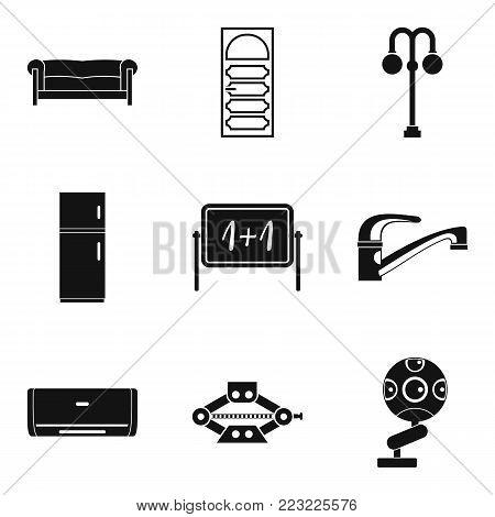 Furnishing icons set. Simple set of 9 furnishing vector icons for web isolated on white background