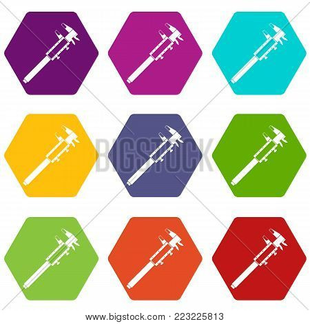 Vernier caliper icon set many color hexahedron isolated on white vector illustration