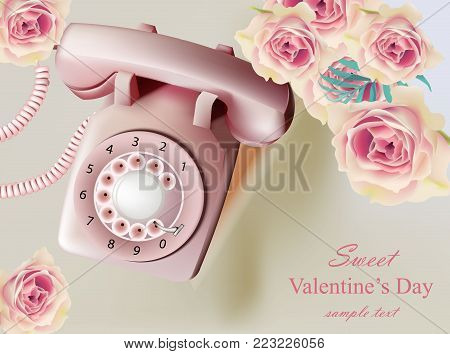 Vintage retro phone Vector realistic illustration. Holiday roses and antique call card. old memories concept